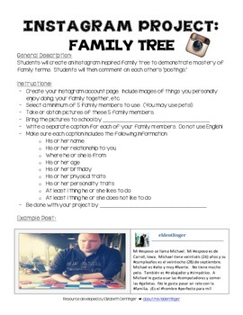 Instagram Project: Family Tree for World Languages