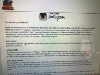 Instagram Social Media Parent Permission Slip
