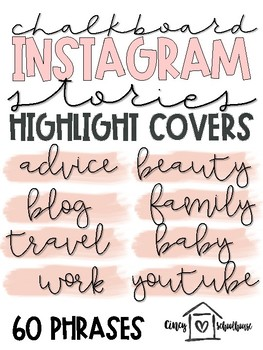 Instagram Story Highlight Covers   Blush Pink and Black   Script