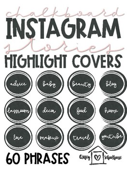 Instagram Story Highlight Covers | Chalkboard and White