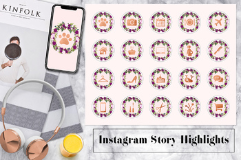 Instagram Story Highlights Icons, Lifestyle Instagram Icons, Floral Wreath