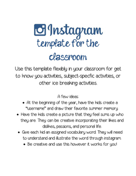 Instagram Template for the Classroom