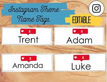 Instagram Theme Name Tags - Editable