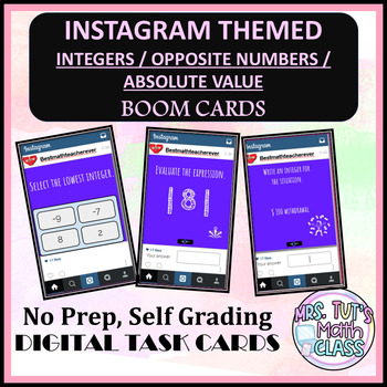 Instagram Themed Integers, Absolute Value Boom Cards