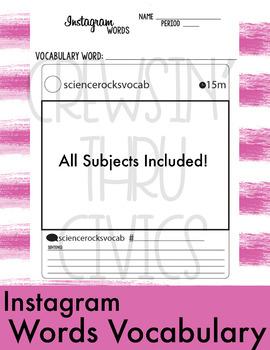Instagram Vocabulary (Word Wall)