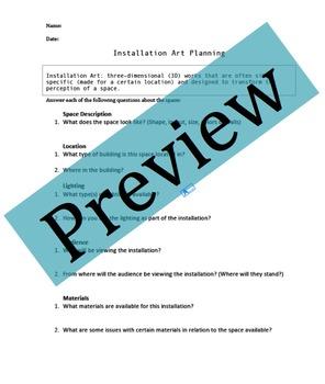 Installation Art Planning Worksheet