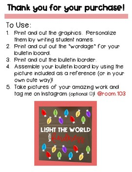 "Instant Bulletin Board - Christmas Lights ""Light the World with Kindness"""