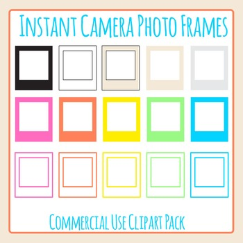 Instant Camera Frames in the Style of Polaroid or Instagram Clip Art