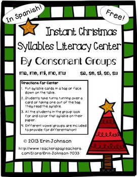 Instant Christmas Syllables Literacy Center in Spanish - Freebie!