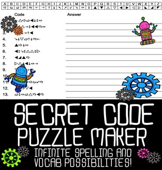 Automatic Secret Code Puzzle Maker by Sarah Brauhn | TpT