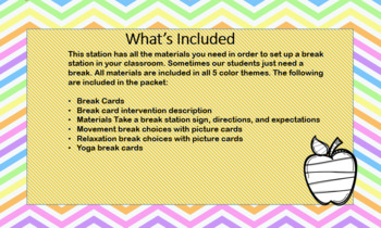 Instant Cool down area 5 color Bundle.-Share with up to 5 teachers!