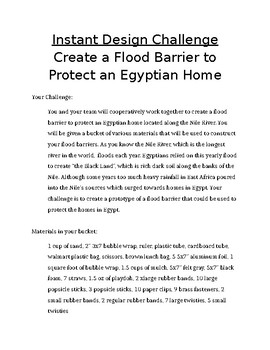 Instant Design Challenge: Create a Flood Barrier (STEM LESSON)