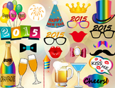 Instant Download 2015 Happy New Year Photo Booth Props New Year Party DIY 0188