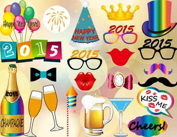 Instant Download 2015 Happy New Year Photo Booth Props New