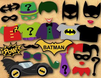 Instant Download Batman Photo Booth Props, Superhero Batman Party Printable 0399