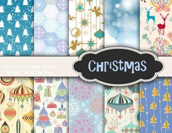 Blue Christmas Digital Paper Digital Christmas Scrapbook Paper Pack 0366