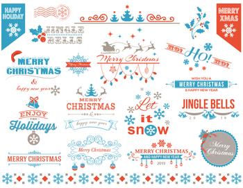 Digital Christmas Border Frame Clip Art Orange Blue Christmas Embellishment 0364