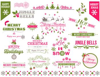 Digital Christmas Border Frame Clip Art Pink Green Christmas Embellishment 0363