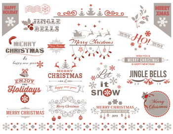 Digital Christmas Border Frame Clip Art Red Grey Christmas Embellishment 0362
