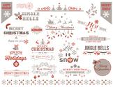 Digital Christmas Border Frame Clip Art Red Grey Christmas Embellishment 0362