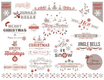 Digital Christmas Border Frame Clip Art Red Grey Christmas