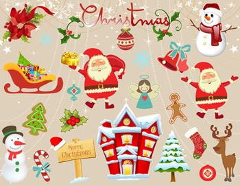 Digital Christmas Clip Art Santa Snowman Snowflake Christm