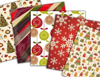 Christmas Digital Paper Red Green Christmas Scrapbook Paper pack 0369