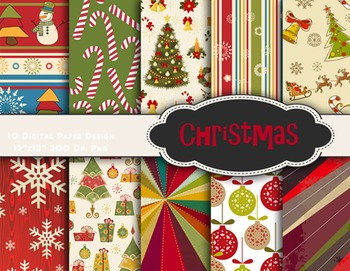 Christmas Digital Paper Red Green Christmas Scrapbook Paper pack 0369