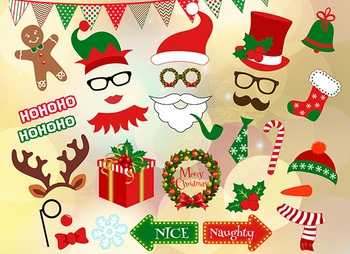 Instant Download Christmas Photo Booth Props Christmas Party Diy 0132