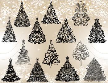 Digital Christmas Tree Clip Art Flourish Swirl Christmas Tree ClipArt 0372