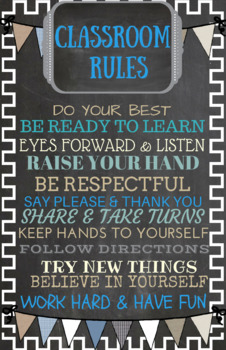 Instant Download-Classroom Poster-You Print-Classroom Rules-Blue/gray chalkboard