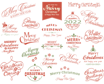 Digital Merry Christmas Clip Art Happy New Year/Christmas Wording Clipart 0359