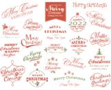 Digital Merry Christmas Clip Art Happy New Year/Christmas Wording Clipart 0359