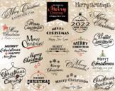 Digital Merry Christmas Clip Art Happy New Year/Christmas Wording Clipart 0368