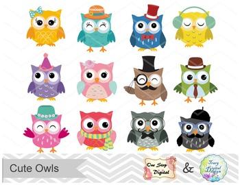 Instant Download, Owl Digital Clip Art, Cute Owl Clipart, 00154