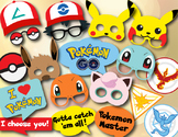 Instant Download Pokemon Party Photo Booth Props, Pokemon
