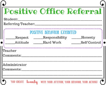 Instant Download- Positive Office Referral-You Print-Positive Reinforcement