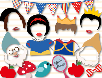 Instant Download Snow White Princess Photobooth Props, Snow White Party 0400