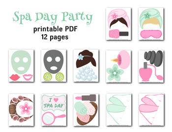 Instant Download Spa Party Photo Booth Props Spa Day Photo Booth