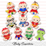 Instant Download Superhero Baby Girls Clipart, Superhero Baby Clip Art 0230