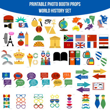 Instant Download World History School Printable Photo Booth Prop Set