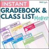 Instant, Editable Gradebook & Class List Maker
