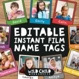 Instant Film Editable Name Tag Templates, Rainbow Class Decor, Bulletin Board