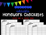 Editable Instant Homework Checklists