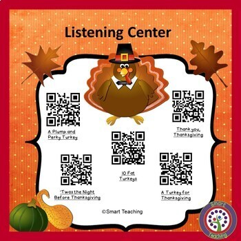 Free Thanksgiving Instant Listening Center -QR Codes-Great for Centers!