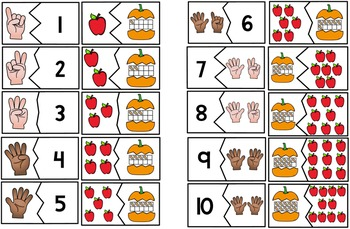 Instant Math Center ~ Matching Numerals 1-10 to Representations (Fall Edition)