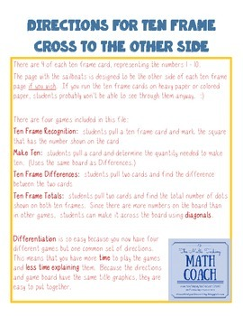 Instant Math Workshop Center:  Cross to the Other Side (Ten Frames)