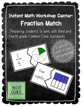 Instant Math Workshop Center: Fraction Match (preparing for 3rd & 4th gr. CCSS)