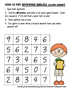 Instant Math Workshop Center Game: Cross-Out Differences (Subtraction Facts)