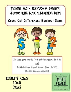 Instant Math Workshop Center Game: Cross-Out Differences (